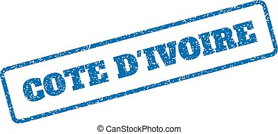 Cote D'Ivoire Rubber Stamp - Blue rubber seal stamp with...