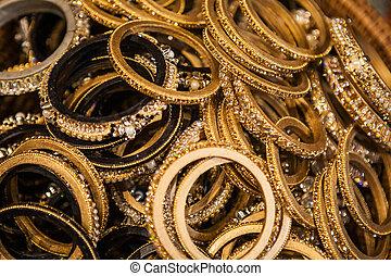 Set of traditional indian bracelets on a market - Set of...