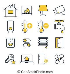 Smart House management Icons - Effective House management...