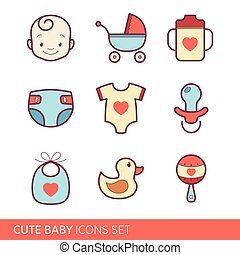 Toddler accessories icons