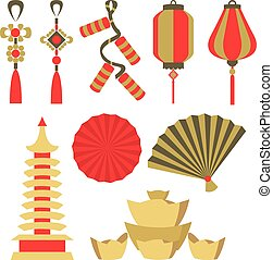 Vector set illustration of Chinese symbol