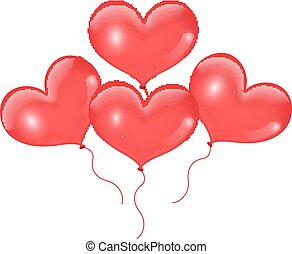 Realistic 3D red balloons in the shape of heart. Isolated on white background. Valentines Day. Vector illustration.