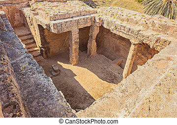 ancient burial chamber at the 'Tomb of the Kings in Paphos, Cyprus.