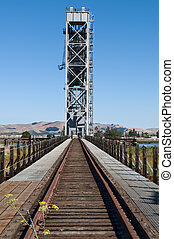 Drawbridge - Brazos railroad drawbridge over the Napa River,...