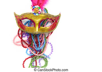 Mardi gras mask and beads on white background.Top view.