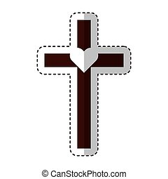 cross first communion icon vector illustration design