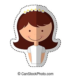 first communion girl character vector illustration design