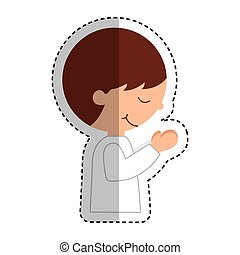 first communion boy character vector illustration design