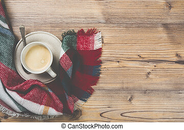 Cozy home coffee cup, warm details
