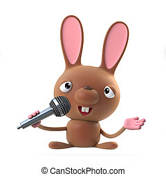 3d Cute cartoon Easter bunny rabbit sings the blues on a microphone