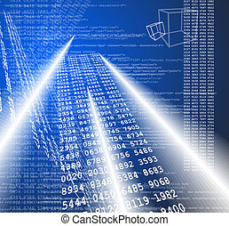 Technological abstract background with 3d models and numbers