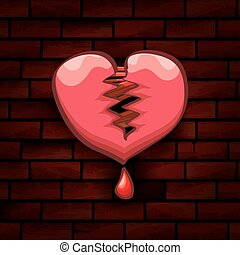 vector cartoon tattoo style red broken heart