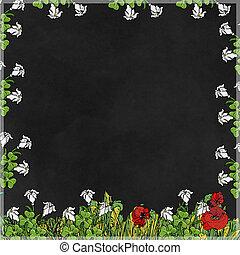 cornice con fondo nero  con fiori e foglie,