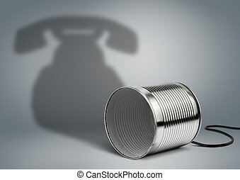 Tin can with telephone shadow, communication creative concept