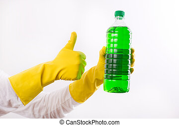 Woman recommending cleaning product - Human hand with rubber...