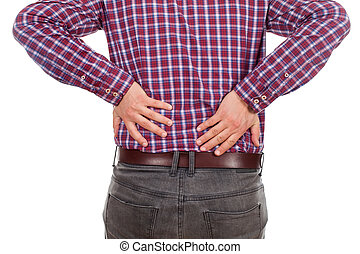 Young man having backpain - Close up picture of a young man...