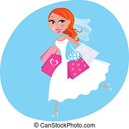 Bride is doing wedding shopping - Bride is preparing to...