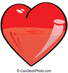 Half-full, half-empty heart - Cartoon illustration of a...