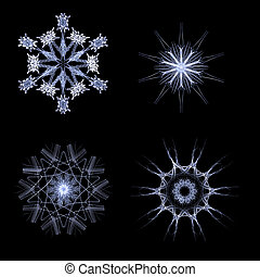 Fractal snow flakes on black background