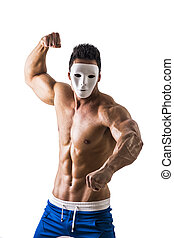 Shirtless aggressive muscle man with creepy, scary mask -...