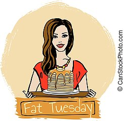 Fat Tuesday - Hand-drawn illustration of woman with pancakes...