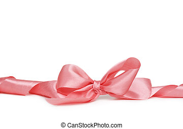pink bow - pink ribbon bow isolated on white background