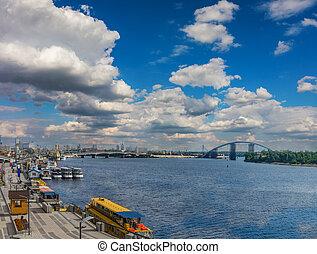 Kyiv river port on the sky background
