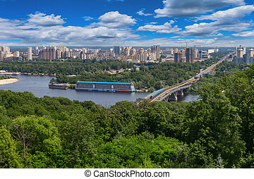 Kiev and Dnieper River - View of the city of Kiev and the...