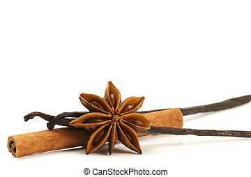 cinnamon stick, star anise and two vanilla beans on white...
