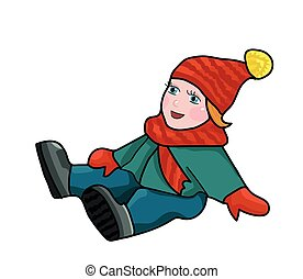 ice baby fell - The baby in winter clothing fell. Slipped on...