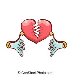 vector cartoon style red broken heart