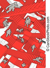 labyrinth of stairs - lost and confused people running...