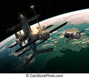 Spacecraft Is Preparing To Dock With Space Station. 3D...