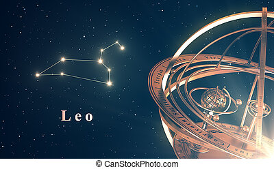 Zodiac Constellation Leo And Armillary Sphere Over Blue...