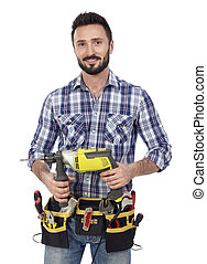 Carpenter with power drill