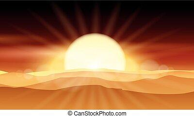 Sunset desert background or sunrise over sandy landscape vector illustration