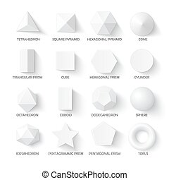 All basic 3d shapes template. Realistic with shadow. Perfect...