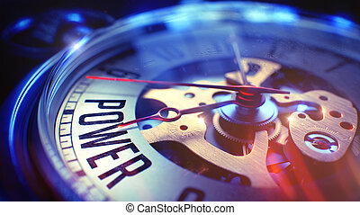 Power - Text on Vintage Watch. 3D Render. - Power. on...