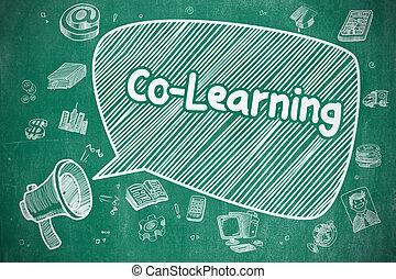 Co-Learning - Doodle Illustration on Blue Chalkboard.