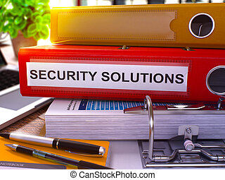 Security Solutions on Red Office Folder. Toned Image. 3D. -...