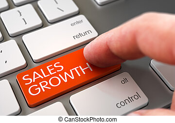 Hand Touching Sales Growth Button. 3D. - Sales Growth -...