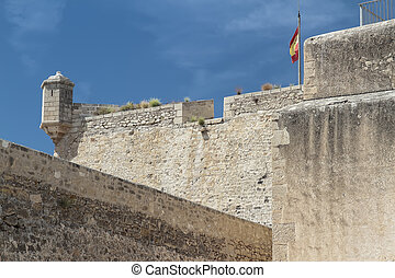 rampart and sentry box in Santa Barbara castle in alicante,...