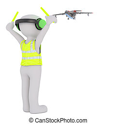 Cartoon Air Traffic Controller Directing Aircraft - 3d...