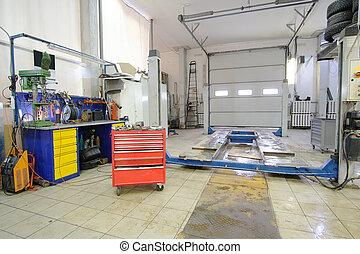 car repair station - empty car repair station