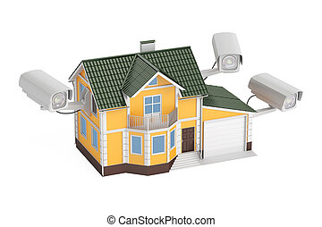 Security cameras on the house, 3D rendering isolated on...