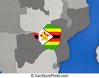 Zimbabwe on globe - Map of Zimbabwe with embedded national...