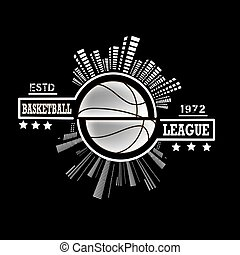 Logo basketball league with urban elements on the background...