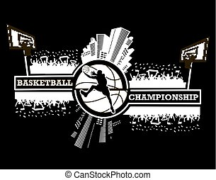 Logo basketball championship with urban elements and the...