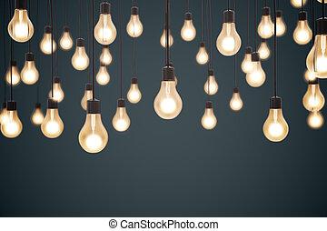 glowing lightbulbs, business idea concept. 3d rendering