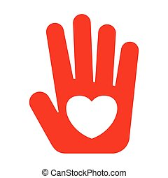red hand with heart - Icon flat red hand with heart. Heart...